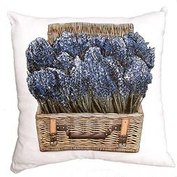 linen feather down filled pillow Lavender in Wicker Basket