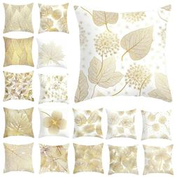 Polyester Pillow Case Cover Gold Leaves Throw Sofa Car Cushi