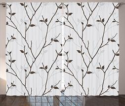 Ambesonne Leaves Decor Collection, Branches in the Fall Tree