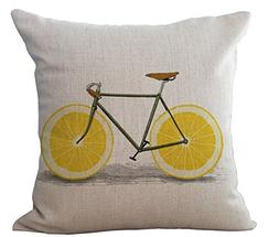 Miracle Dec Lemon Bicycle Pattern Linen Polyeser Square Sofa
