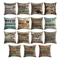18'' Vintage Letter Throw Pillow Case Cushion Cover Sofa Hom