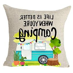FELENIW Life Is Better When You Are Camping Throw Pillow Cov