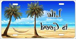 ATD Design Life Is Good Tropical Beach Scene Palm trees and