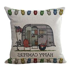 ChezMax Linen Blend Happy Campers Cushion Cover Cotton Pillo