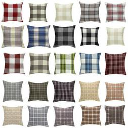 Linen Decorative Throw Pillow Cover Buffalo Checkers Plaid F