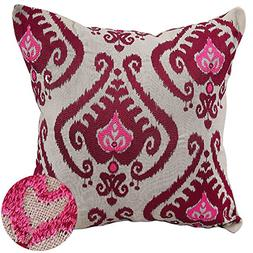 Deconovo Linen Embroidered Vintage Floral Cushion Cover Thro