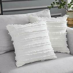 Longhui bedding Ivory White Throw Pillow Covers for Couch So