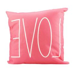 LOVE Coral Pink Accent Decorative Throw Pillow Home Decor Va