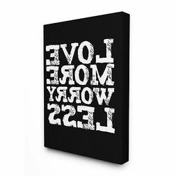 Love More Worry Less' Glam Rectangular Canvas Wall Art  Over