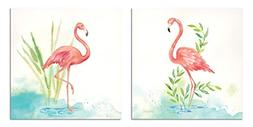Gango Home Décor Lovely Tropical Watercolor-Style Pink Flam
