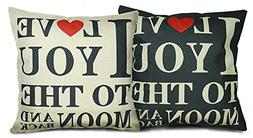 "Luxbon Set of 2 Pcs Durable Cotton Linen ""I Love You"" Throw"