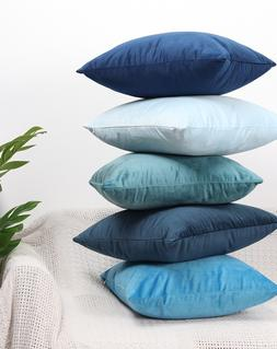 Luxury Blue Velvet Cushion Cover <font><b>Pillow</b></font>