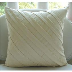 Cream Decorative Pillow Cover, Textured Pintucks Solid Color