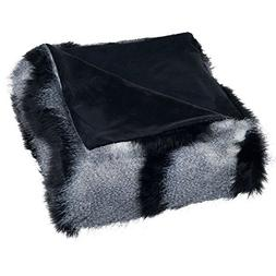 Lavish Home Luxury Long Haired Striped Faux Fur Throw Blanke