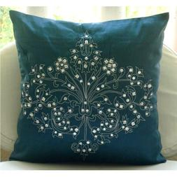 """Luxury Teal Blue Euro Sham Covers, 26""""x26"""" Euro Pillow Cover"""
