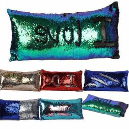 Magic Sequin Pillow Case Fancy Mermaids Two Tone Glitter Seq