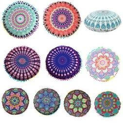 Mandala 17'' Round Floor Pillow Case Boho Meditation Throw P