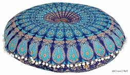 Mandala Decorative Meditation Floor Cushion Cover Throw pom