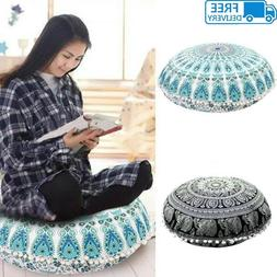 Mandala Floor Pillow Bohemian Indian Cushion Round Pillows T