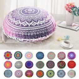 Mandala Round Throw Pillow Case Cushion Cover Indian Bohemia
