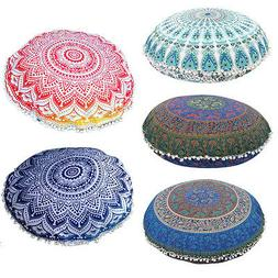 Mandala Floor Pillows Round Bohemian Meditation Throw Pillow