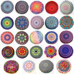 Mandala Round Throw Pillow Case Sofa Cushion Cover Indian Bo