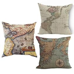 Wonder4 Map Art Throw Pillow Covers Cotton Linen Square Deco