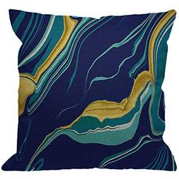 HGOD DESIGNS Marble Texture Throw Pillow Cover,Yellow Blue G