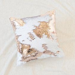 16x16 Mermaid Pillow with Insert Sparkling Champagne Gold wi
