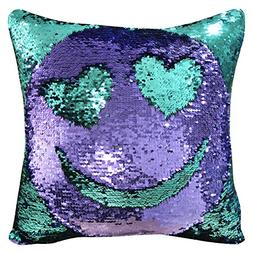 "ICOSY Mermaid Pillow Case 16""x16"" Magic Reversible Sequins P"