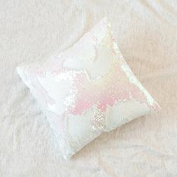 16x16 Mermaid Pillow with Insert Sparkling Iridescent Pink w