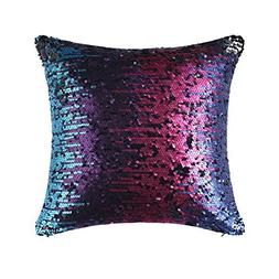 OJIA Mermaid Sequin Throw Pillow Cover with Magical Color Ch