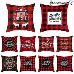 Fuwatacchi Merry Christmas Gift Cushion Cover Polyester Red