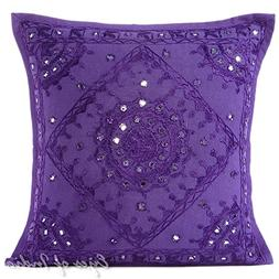 """Eyes of India - 16"""" Purple Mirror Embroidered Pillow Colorfu"""