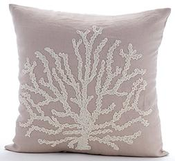 Mocha Throw Pillow Covers, Beaded Sea Weeds Sea Creatures Oc