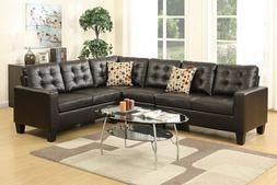 Modern Espresso Faux Leather Sectional Sofa Set for Living R
