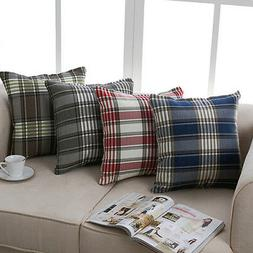Modern Plaid Pillow Case Throw Cushion Square Cover Protecto