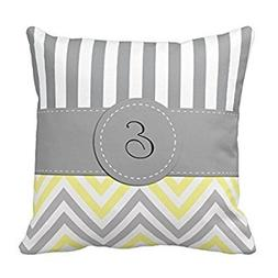 Decors Monogram - Zigzag  - Yellow Gray White Throw Pillow C