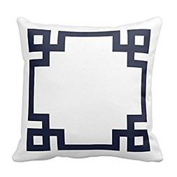 Moslion White and Navy Blue Greek Key Border Pillow Home Sof
