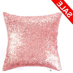 Kevin Textile Decorative Sequins Throw Pillow Case Solid Gli