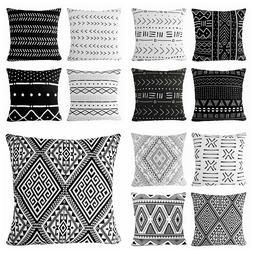 "16x16"" Black & White Premium Throw PILLOW COVER Sofa Couch A"