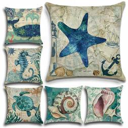 Nautical Sea Animal Pillow Case Sofa Bed House Waist Throw C