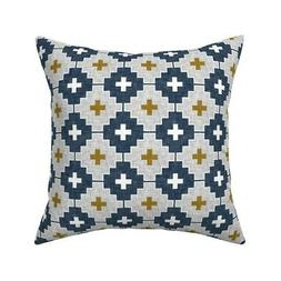 Navy Aztec Geometric Crosses Throw Pillow Cover w Optional I