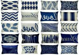 """12x20"""" Linen Navy Blue Throw PILLOW COVER Double-Sided Retro"""