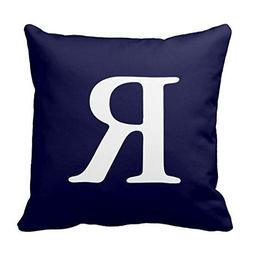 Decors Navy Blue White Monogrammed R Decorative Pillow Cover