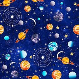 Navy Outer Space Planets Quilters Pallete Quilt Fabric by th