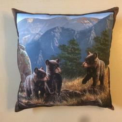 NEW 15 x 15 BLACK BROWN GRIZZLY BEAR COMPLETE THROW PILLOWS