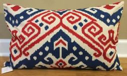 "NEW Pottery Barn Aldrich Ikat Embroidered 16x26"" Lumbar Pill"