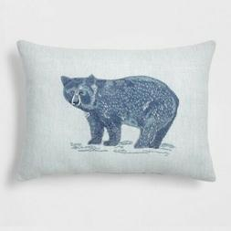 NEW Threshold Bear Lumbar Throw Pillow Blue 18 x 13