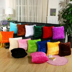 New Fluffy Fur Plush Pillow Case Shaggy Home Sofa Decor Soft